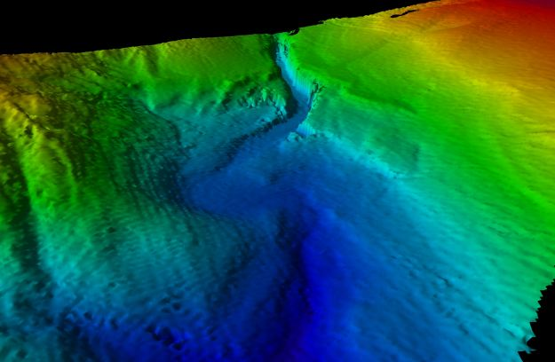 3D image of a canyon head used to calibrate the multibeam systems.