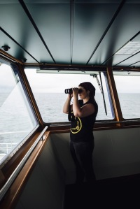Marian, our MMO, on lookout for marine mammals.