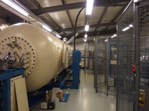 Fig 7. Accelerator pressure vessel known as the tank. It is filled with an insulating gas.