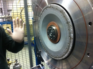 Fig 2. Sample wheel loaded in ion source.